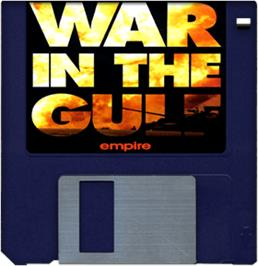 Cartridge artwork for War in the Gulf on the Commodore Amiga.