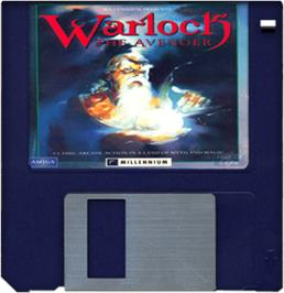 Cartridge artwork for Warlock: The Avenger on the Commodore Amiga.