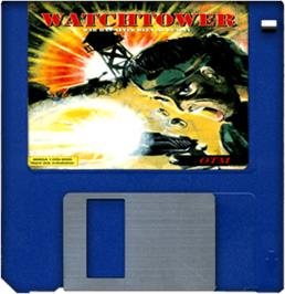 Cartridge artwork for Watchtower on the Commodore Amiga.