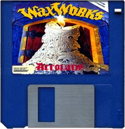Cartridge artwork for Waxworks on the Commodore Amiga.