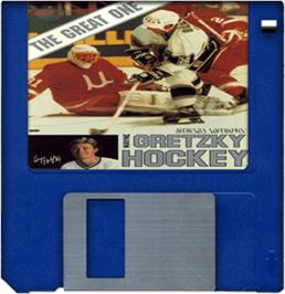 Cartridge artwork for Wayne Gretzky Hockey on the Commodore Amiga.