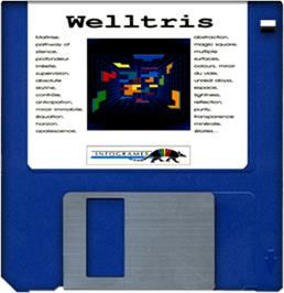 Cartridge artwork for Welltris on the Commodore Amiga.