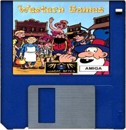 Cartridge artwork for Western Games on the Commodore Amiga.