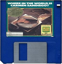 Cartridge artwork for Where in the World is Carmen Sandiego on the Commodore Amiga.