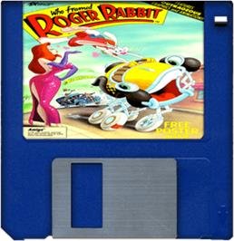 Cartridge artwork for Who Framed Roger Rabbit? on the Commodore Amiga.