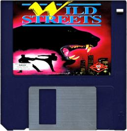 Cartridge artwork for Wild Streets on the Commodore Amiga.