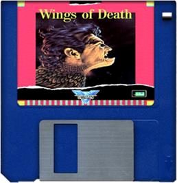 Cartridge artwork for Wings of Death on the Commodore Amiga.