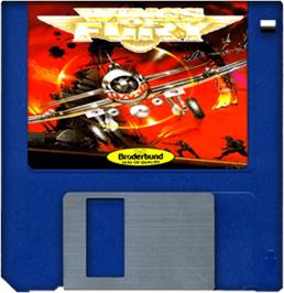 Cartridge artwork for Wings of Fury on the Commodore Amiga.