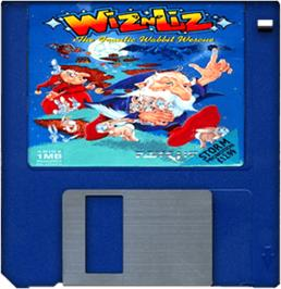 Cartridge artwork for Wiz 'n' Liz: The Frantic Wabbit Wescue on the Commodore Amiga.