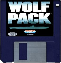Cartridge artwork for WolfPack on the Commodore Amiga.