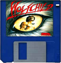 Cartridge artwork for Wolfchild on the Commodore Amiga.