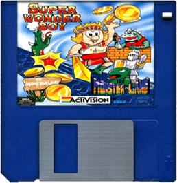Cartridge artwork for Wonder Boy in Monster Land on the Commodore Amiga.