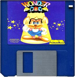 Cartridge artwork for Wonder Dog on the Commodore Amiga.