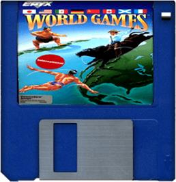 Cartridge artwork for World Games on the Commodore Amiga.