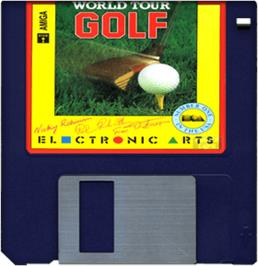 Cartridge artwork for World Tour Golf on the Commodore Amiga.