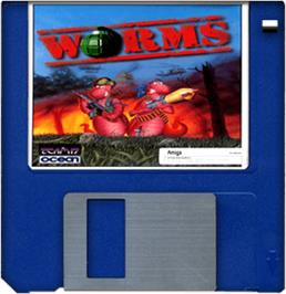 Cartridge artwork for Worms on the Commodore Amiga.