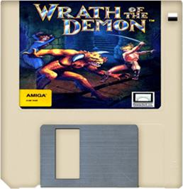 Cartridge artwork for Wrath of the Demon on the Commodore Amiga.