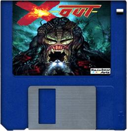 Cartridge artwork for X-Out on the Commodore Amiga.