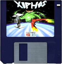 Cartridge artwork for Xiphos on the Commodore Amiga.