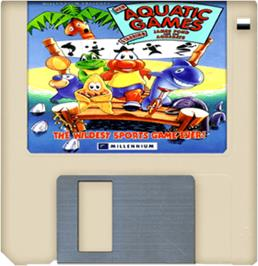 Artwork on the Disc for Aquatic Games on the Commodore Amiga.