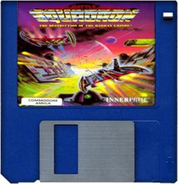 Artwork on the Disc for Battle Squadron on the Commodore Amiga.