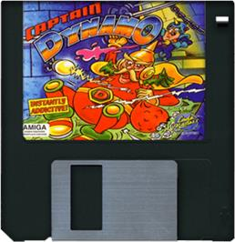 Artwork on the Disc for Captain Dynamo on the Commodore Amiga.