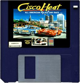 Artwork on the Disc for Cisco Heat: All American Police Car Race on the Commodore Amiga.