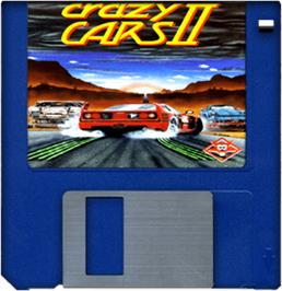Artwork on the Disc for Crazy Cars 2 on the Commodore Amiga.
