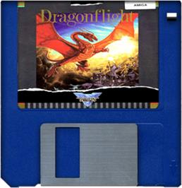 Artwork on the Disc for Dragonflight on the Commodore Amiga.
