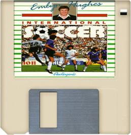 Artwork on the Disc for Emlyn Hughes International Soccer on the Commodore Amiga.