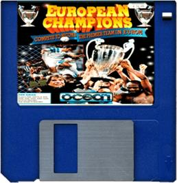 Artwork on the Disc for European Champions on the Commodore Amiga.