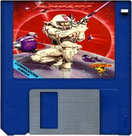 Artwork on the Disc for Exolon on the Commodore Amiga.