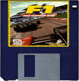 Artwork on the Disc for F1 World Championship Edition on the Commodore Amiga.