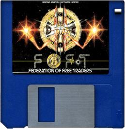 Artwork on the Disc for Federation of Free Traders on the Commodore Amiga.