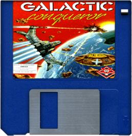 Artwork on the Disc for Galactic Conqueror on the Commodore Amiga.