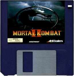 Artwork on the Disc for Mortal Kombat II on the Commodore Amiga.