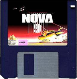 Artwork on the Disc for Nova 9: Return of Gir Draxon on the Commodore Amiga.
