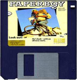 Artwork on the Disc for Paperboy 2 on the Commodore Amiga.