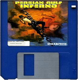 Artwork on the Disc for Persian Gulf Inferno on the Commodore Amiga.