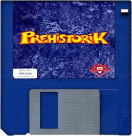 Artwork on the Disc for Prehistorik on the Commodore Amiga.