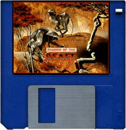 Artwork on the Disc for Shadow of the Beast on the Commodore Amiga.