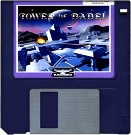 Artwork on the Disc for Tower of Babel on the Commodore Amiga.