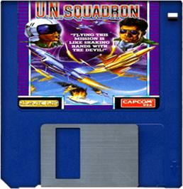 Artwork on the Disc for U.N. Squadron on the Commodore Amiga.
