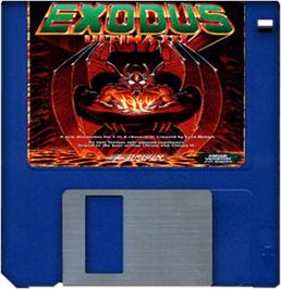 Artwork on the Disc for Ultima III: Exodus on the Commodore Amiga.