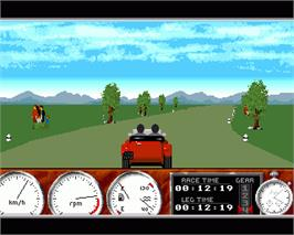In game image of 1000 Miglia: Great1000 Miles Rally on the Commodore Amiga.