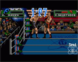 In game image of 3D World Boxing on the Commodore Amiga.