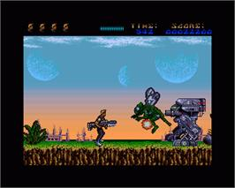 In game image of A.M.C.: Astro Marine Corps on the Commodore Amiga.