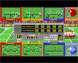 In game image of ABC Monday Night Football on the Commodore Amiga.