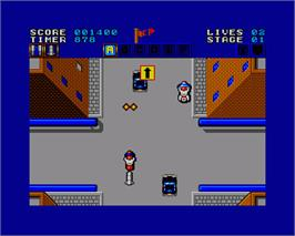 In game image of Action Fighter on the Commodore Amiga.