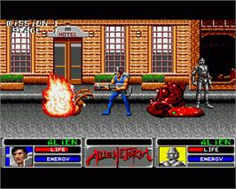 In game image of Alien Storm on the Commodore Amiga.